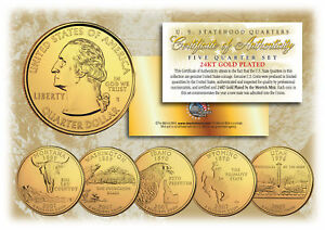 2007-US-Statehood-Quarters-24K-GOLD-PLATED-5-Coin-Complete-Set-w-Capsules