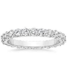 1 CARAT Round Natural Diamond Eternity Wedding Band 14k White Gold Womens Ring