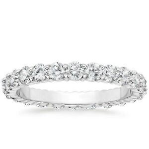 1-CARAT-Round-Natural-Diamond-Eternity-Wedding-Band-14k-White-Gold-Womens-Ring