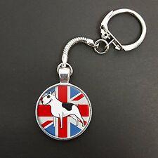 English Bull Terrier Union Jack Pendant On A Snake Keyring Birthday Gift N807