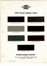 1939 LINCOLN ZEPHYR 39 MINT PAINT CHIPS RINSHED MASON R M