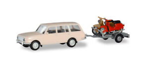 Wartburg 353 Trailer Two Simpson Scooter HERPA 1/87 Plastic Miniature HO Scale