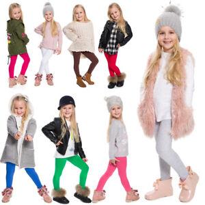 Enfants-enfants-filles-uni-coton-epais-pleine-longueur-Leggings-Fete-Pantalon-Tous-Ages