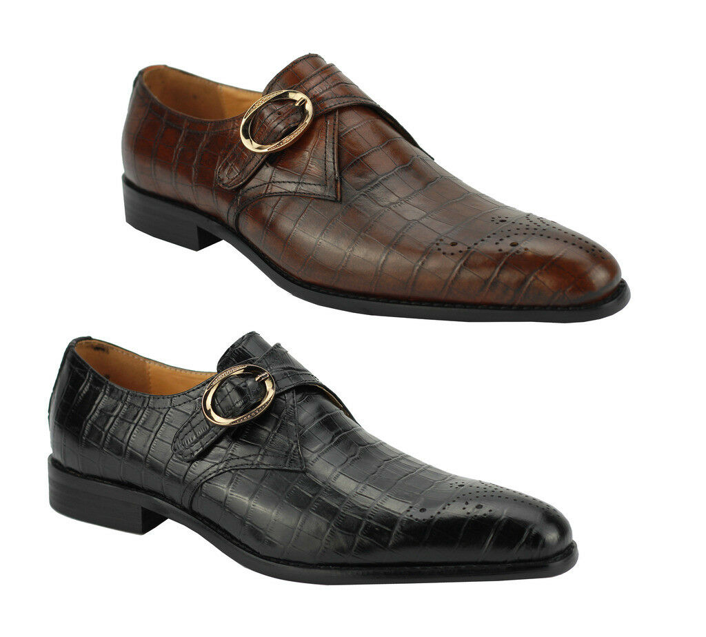 Mens Real Leather Black & Brown Monk Strap Croc Skin Effect Smart Slip on shoes