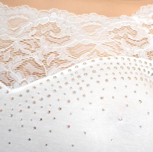 Manches Femme Chemise Jersey Shirt G48 Courtes Strass Blanc Brodé Body Dentelle xnHRCCX