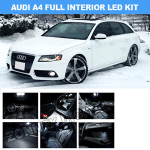 17 piece audi a4 b8 8k avant led blanche kit int rieur canbus sans erreur ebay. Black Bedroom Furniture Sets. Home Design Ideas