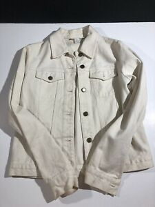 ce5282996b Details about Dkny Pure Small Jean Jacket Cream White Color Stylish Free  Shipping Runway Style