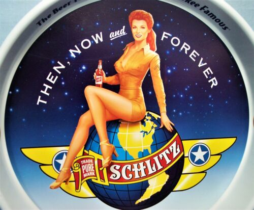 Army Air Corp Pin-Up Girl ~ Schlitz Beer Tray
