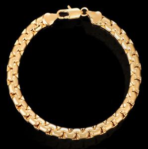 Gold-Kette-Armkette-6MM-dick-Panzerkette-Armband-Herren-Maenner-Damen-vergoldet