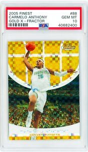 CARMELO-ANTHONY-2005-Topps-Finest-88-GOLD-X-FRACTOR-29-Perfect-PSA-10-Card