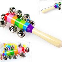 Bunt Baby Holz Handbells Schätzchenaufnahmevorrichtung Musik schütteln Spielzeug