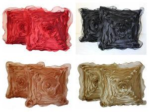 Dekor World Rose Flower Cushion Cover(Pack Of 2) (16X16)#-# 4 Optional Designs