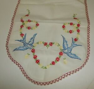 Vintage Hand Embroidered Dresser Scarf Blue Birds with Yellow & Red Flowers