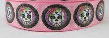 Pink Sugar Skull grosgrain ribbon hair bows key chains lanyards crafts