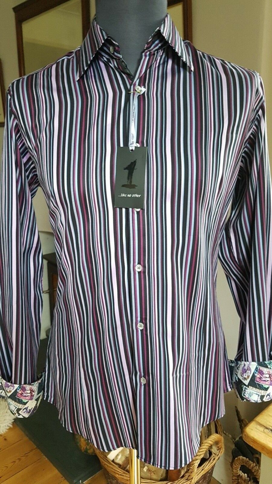 1 Like No Other men's slim fit shirt Multi Stripe.Size 2 M. RRP . 1 of 500.