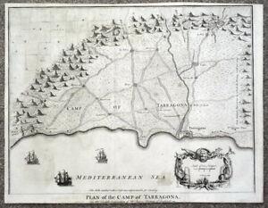Map Of Spain Reus.Details About Tarragona Salou Reus Vila Seca Catalonia Spain Battle Plan Antique Map 1745