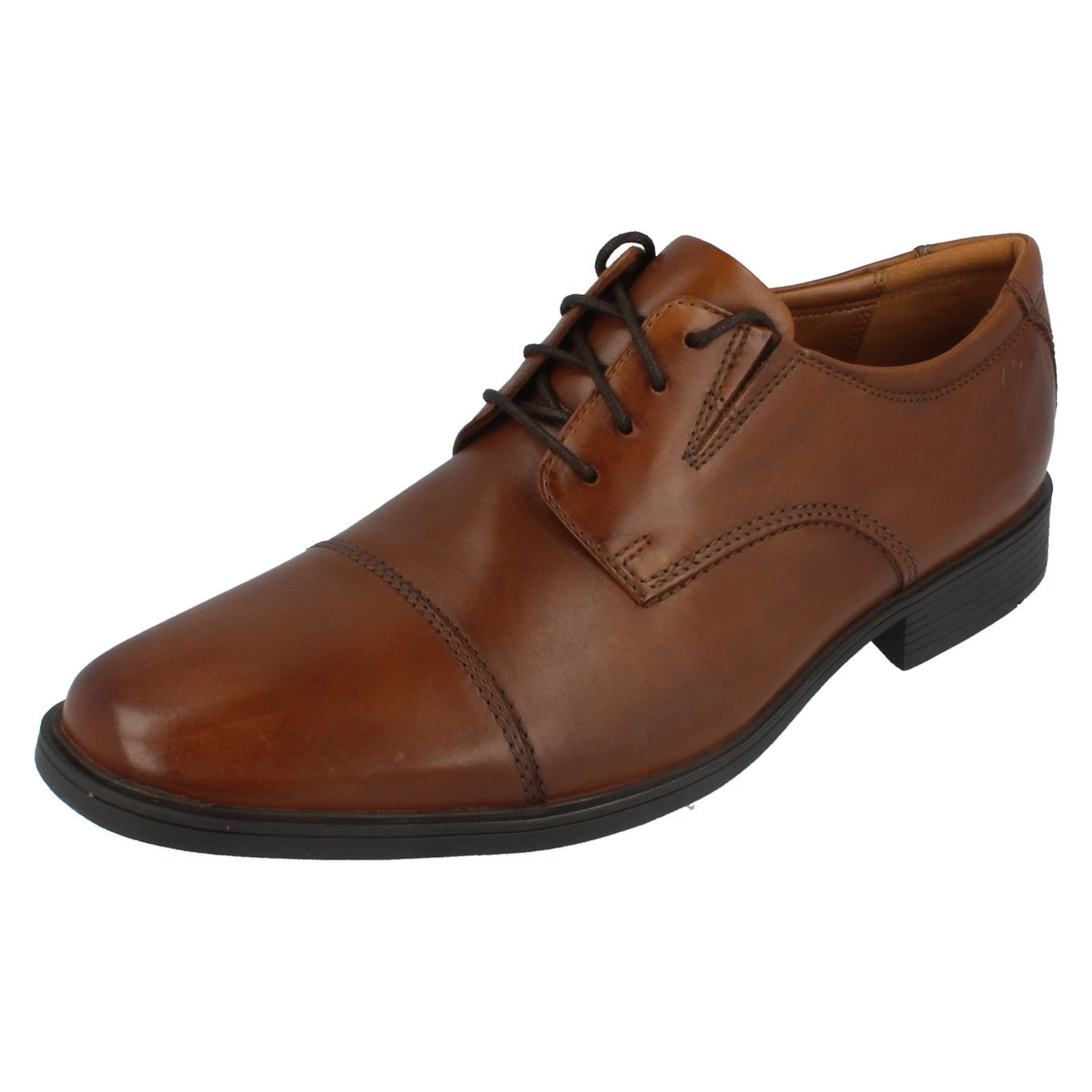 Mens TILDEN CAP Dark Tan leather lace up shoes by clarks retail