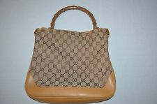 Gucci Brown Canvas & Tan Leather Monogram Shoulder Bag Bamboo Handle