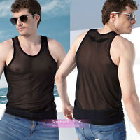 Sexy Men's Tights transparent Mesh sheer Black Vest T-Shirt Tank Top Muscle