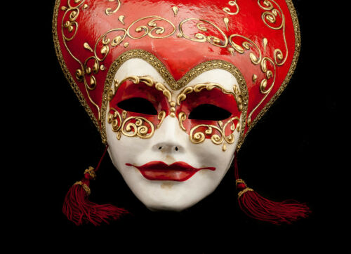 Maske Venetian 280 Maske Venedig Volto Liberty Rot und Gold