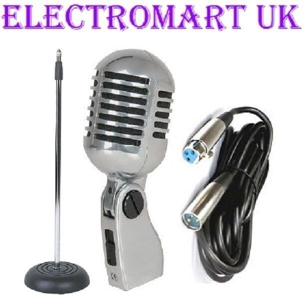50's STYLE RETRO CHROME MIC MICROPHONE MIC STAND CAST BASE & XLR CABLE 6M