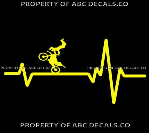 VRS HEART BEAT LINE BIKE MOTORCYCLE Jump Handlebar Helmet FMX CAR VINYL DECAL