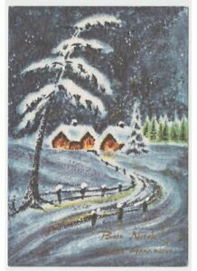 Night-Christmas-Postcard-Years-60-Road-Snow-Country-Snowy-Greeting-Cards-Vintage