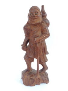 Rare-Vintage-Antique-Wooden-Wood-Hand-Carved-Figurine-Figure-Statue-Old-Man