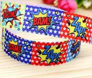 """1m Super Hero Zap Pow Bam 22mm 7//8"""" Printed Grosgrain Ribbon"""