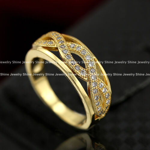 18K GOLD GF INFINITY WOMENS SOLID ENGAGEMENT WEDDING BAND RING Simulated Diamond