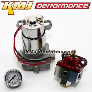 High Flow Performance Electric Fuel Pump 140 GPH W// Billet Regulator /& LF Gauge