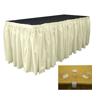 Image Is Loading LA Linen Bridal Satin Table Skirt 30 Ft