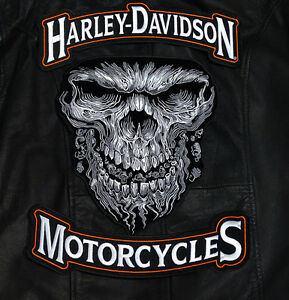 Harley 12 Inch Top Bottom Rocker With 11 Inch Giant Skull 3pc Back