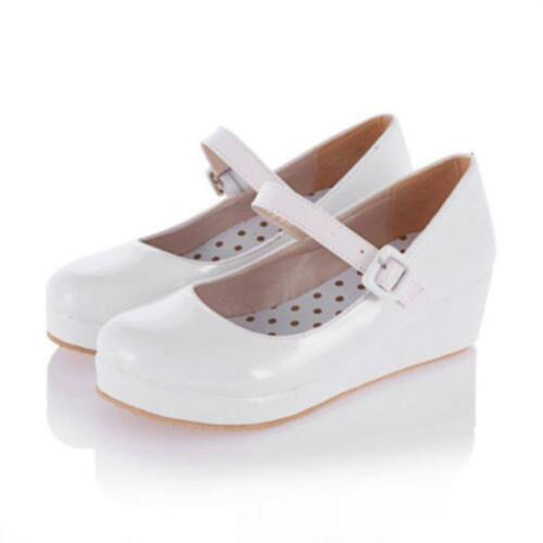 Womens Court Thick Heel Strap Mary Jane Wedding Shoes Pumps Platform Wedge Heel