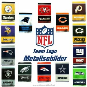 NFL-Metall-Schilder-vers-Teams-Fanartikel-Seahawks-Patriots-Packers-Bears