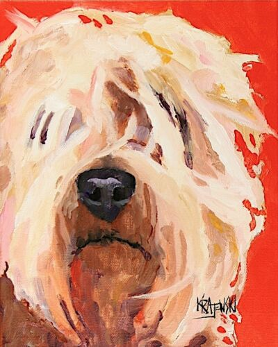 Wheaten Terrier Art Print Signed by Artist Ron Krajewski Painting 8x10