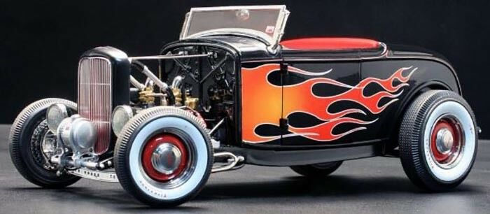 1 18 GMP ACME a1804002 - 1929 ford Hot Rod negro with Flames