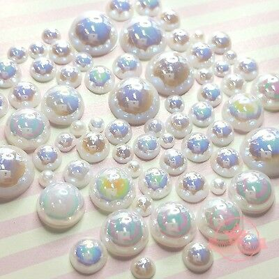 200 pcs 2mm-10mm White resin faux round Shiny Pearls Flatback Mix Size Cabochon
