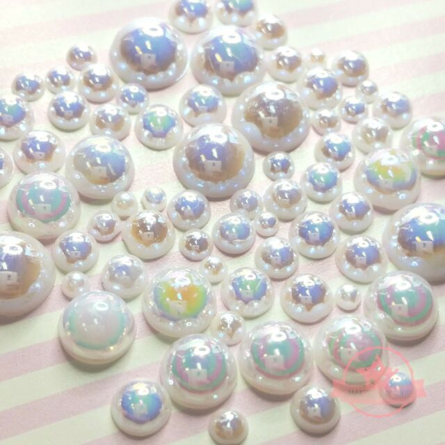 200  2mm -10mm White resin faux round Shiny Pearls Flatback Mix Size Cabochon