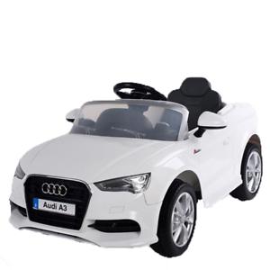 Auto Macchina Elettrica 12V Audi A3 S Line Bianca per Bambini Led MP3 con Teleco