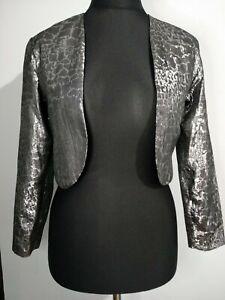 Jon-platt-Damen-Vintage-Silber-Metallic-Schlangenleder-schwarz-Jacke-Cropped-Groesse-10