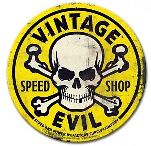 pst Vintage Evil Speed Shop Skull  Round Steel Sign 360mm diameter