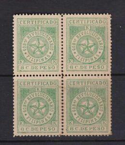 Philippines-1896-Aguinaldo-Revolution-8-cents-CERTIFICADO-Bloc-4-Mint-NH