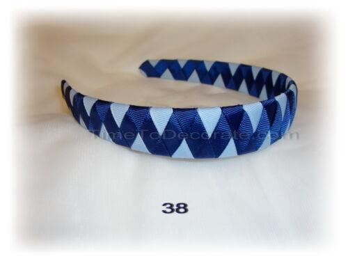 New GROSGRAIN RIBBON woven HEADBAND navy BLUE custom