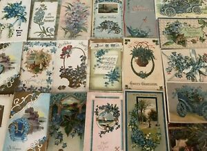 Nice-Lot-of-25-FORGET-ME-NOTS-FLOWERS-Antique-Greeting-Postcards-in-Sleeves-s999
