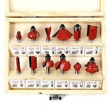 """12 Piece 1/4"""" Shank Router Bit Set Tungsten Carbide Woodworking Kit"""
