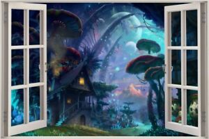 Huge-3D-Window-view-Fairy-tale-Enchanted-Forest-Fantasy-Wall-Sticker-Film-567