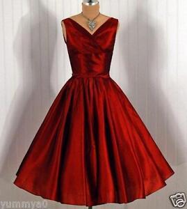 Vestido De Dama De Honor Rojo Vintage Década De 1950 Corto