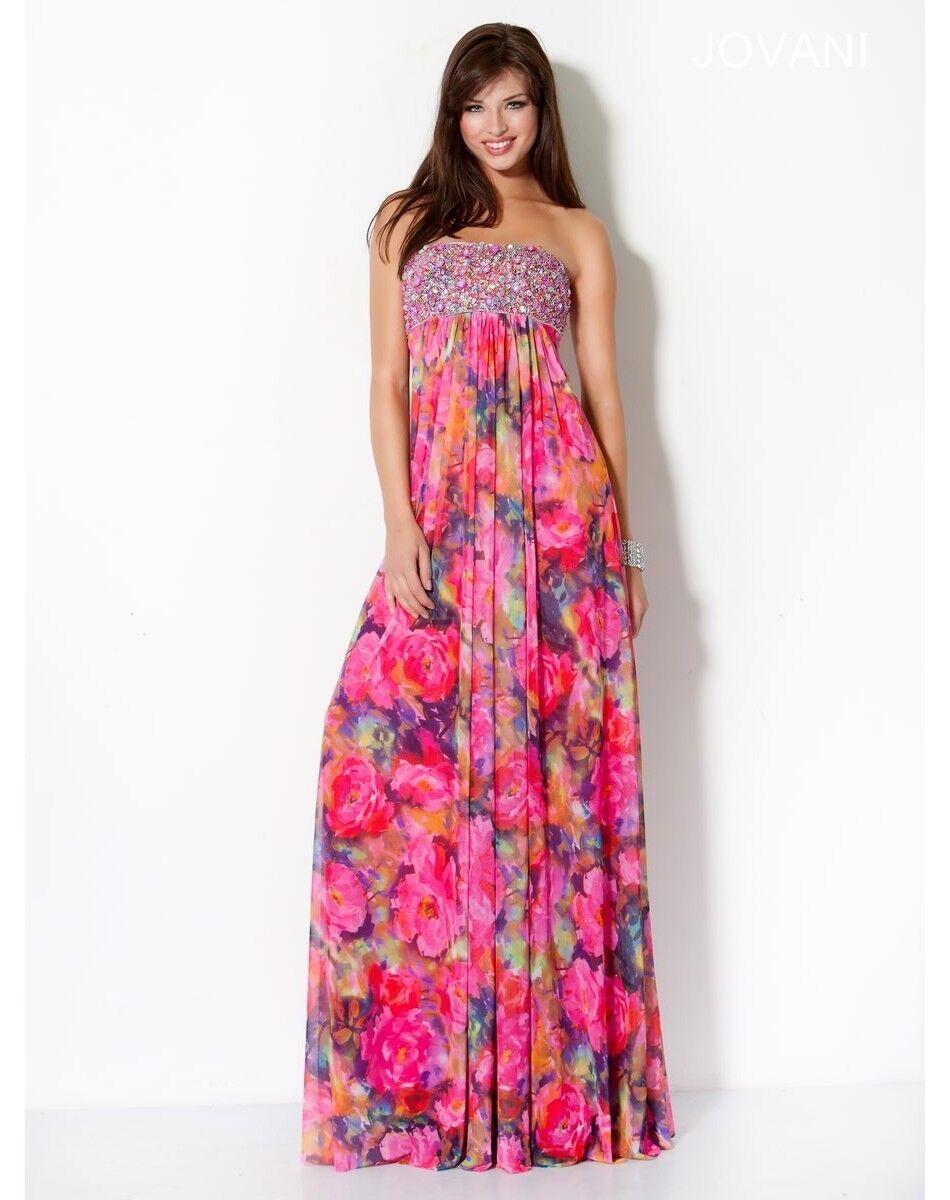Jovani Strapless Floral Print Empire Formal Prom Evening Dress Sz 2 NWT