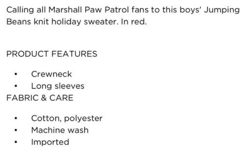 Nwt Toddler Boys 4t Paw Patrol Marshall Holiday Sweater Jumping Beans Brand